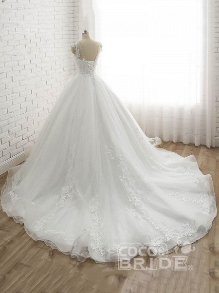 Lace-Up Tulle Ball Gown Wedding Dresses_3