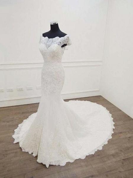 Gorgeous Bateau  Lace Mermaid Sweep Train Wedding Dresses_1