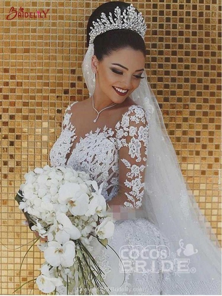 Modest Long Sleeves Lace Appliques Mermaid Wedding Dresses_2