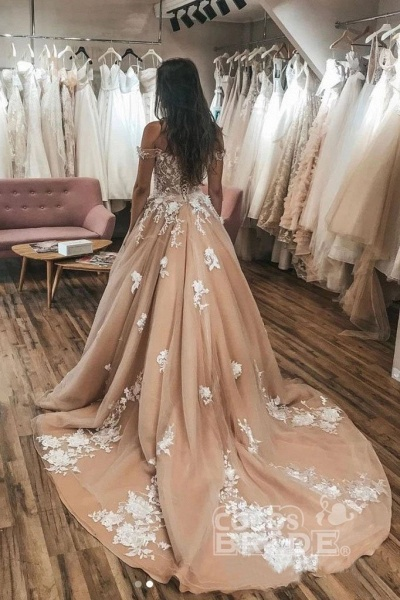 Gorgeous Off the Shoulder Tulle Lace Appliques Puffy Wedding Dress_2