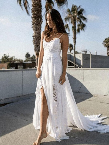 Spaghetti-Strap Backless Lace Bohemian Wedding Dresses_1