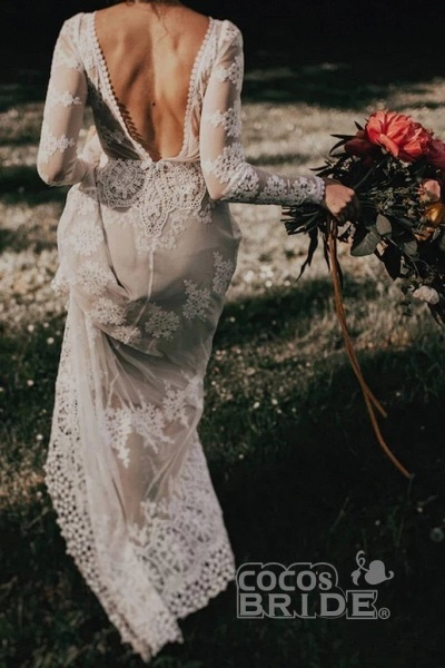Long Sleeve Lace Beach Country Wedding Dress_4