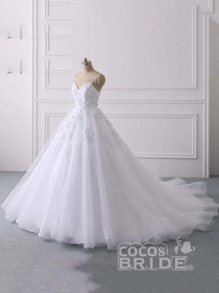 Spaghetti Straps Lace Tulle Ruffles Wedding Dresses_2