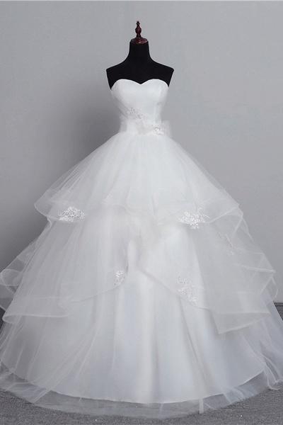 White Tulle Layered Strapless Vintage Wedding Dress_1
