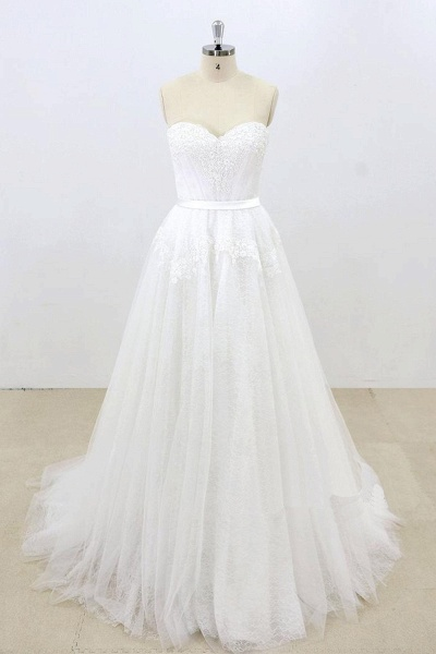 Sweetheart White Tulle Strapless Lace Wedding Dress_1