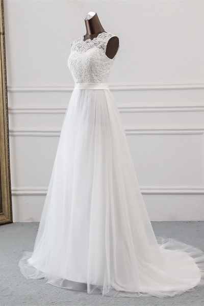 Elegant Long A-line Jewel Tulle Wedding Dress with Appliques Lace_3