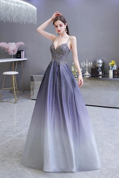 Elegant Spaghetti Straps Appliques Beads Ombre Prom Dress_2