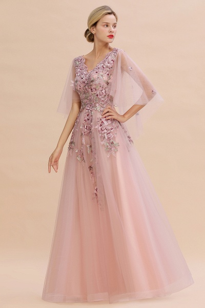 Dusty Pink Tulle Short Sleeve Long Prom Dress_1