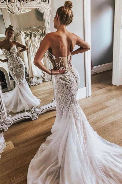 Gorgeous Strapless Tulle Mermaid Long Wedding Dress_1