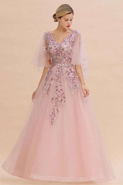 Dusty Pink Tulle Short Sleeve Long Prom Dress_2
