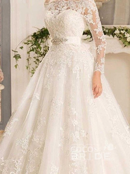 Off-the-Shoulder Tulle Ruffles Wedding Dresses_3