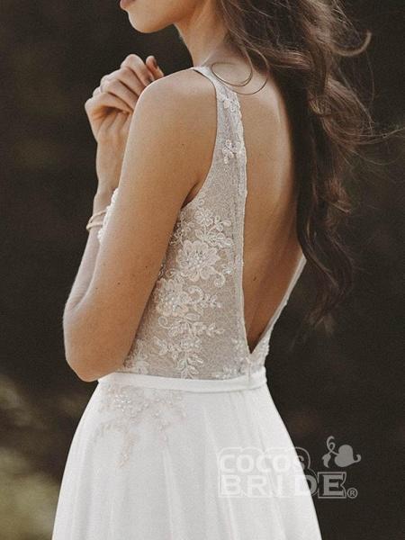 V Neck Lace Boho Wedding Dresses_3