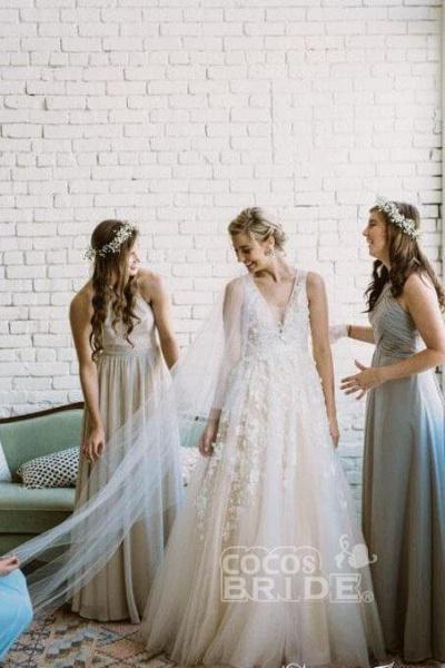 Floor Length V Neck Lace Applique Beach Puffy Tulle Wedding Dress_6