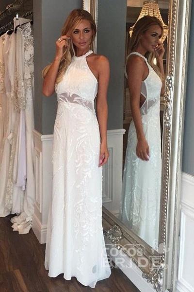 Sleeveless Floor Length Lace Beach Wedding Dress_2