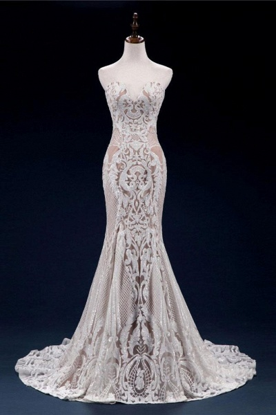 Vintage Lace Tulle Sweetheart Mermaid Wedding Dress_1