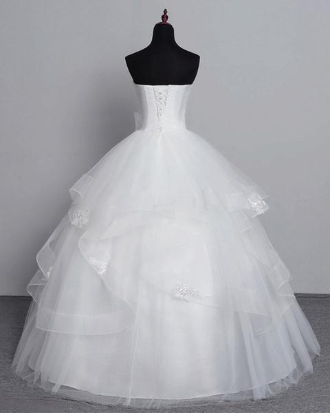 White Tulle Layered Strapless Vintage Wedding Dress_4