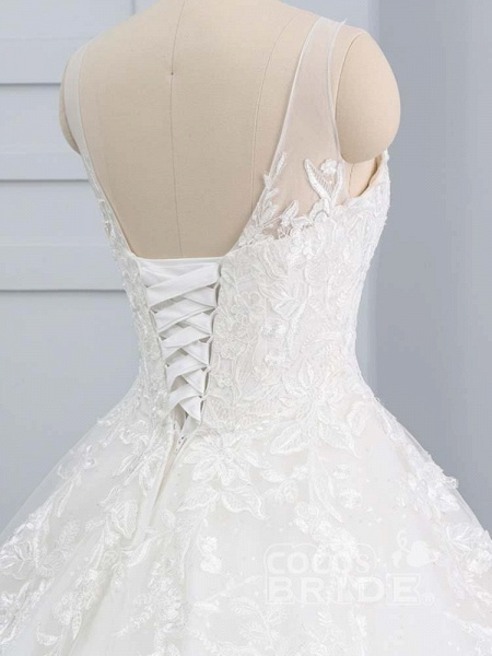Gorgeous Lace-Up Sweep Train Ball Gown Wedding Dresses_6