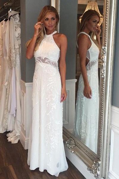 Sleeveless Floor Length Lace Beach Wedding Dress_1