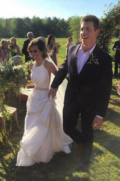 Elegant Halter A-line Long Backless Unique Sleeveless Wedding Dress_1