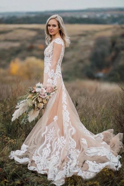 Amazing Long Sleeves Boho Lace Appliques Wedding Dress_1