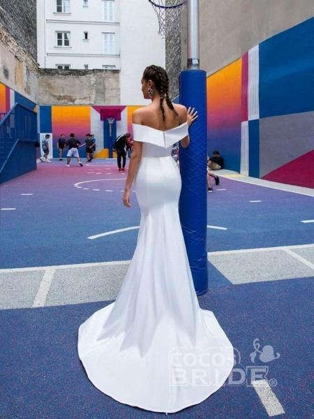 Fashion Off-the-Shoulder Tulle Mermaid Wedding Dresses_2