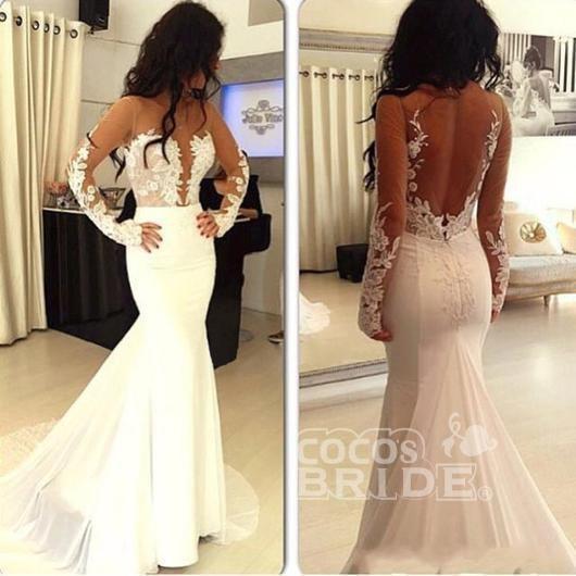 Sexy Mermaid Hot Sale Open Back Long Sleeve Wedding Dress_2
