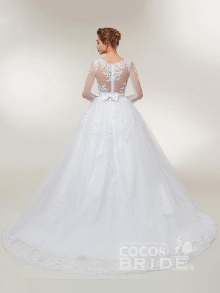 Elegant Long Sleeves Lace Detachable Train Ball Gown Wedding Dresses_2