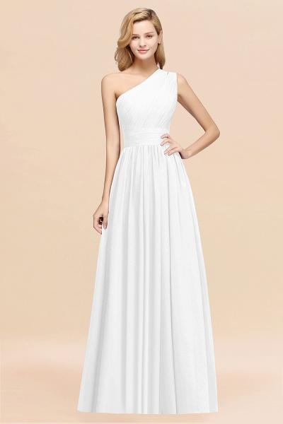 Elegant A-Line Burgundy Chiffon One-Shoulder Sleeveless Ruffles Floor-Length Bridesmaid Dresses_1