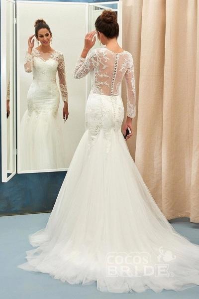 Ivory Sweep Train Applique Tulle Long Sleeves Elegant Wedding Dress_2