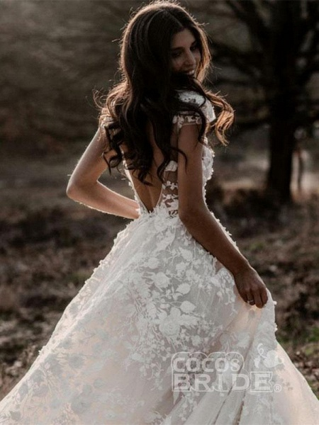 Deep V Neck Short Sleeve Backless A Line Wedding Dresses_4
