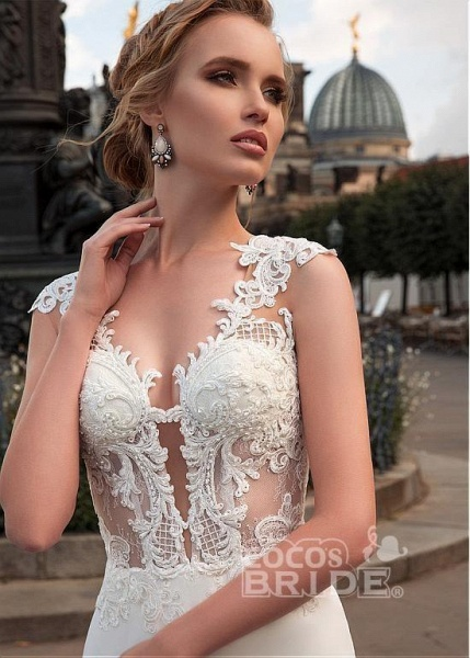 Romantic V Neck Lace Appliques Covered Button A-Line Wedding Dresses_6