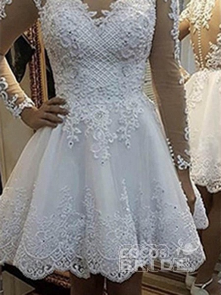 Elegant Long Sleeves Lace Detachable Train Ball Gown Wedding Dresses_6
