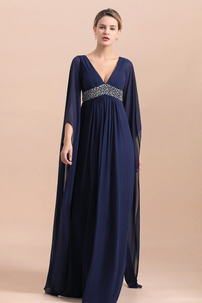 Long Sleeve Ruffles Beads Pearls Chiffon Mother Of the Bride Dress_6