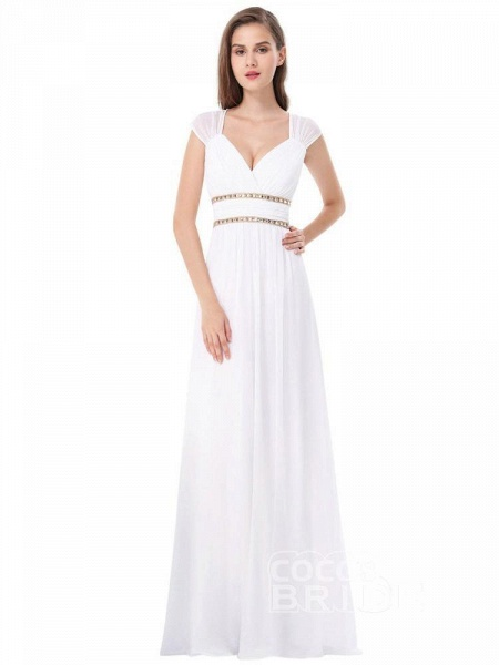 Simple V Neck Cap Sleeve Boho Wedding Dresses_3