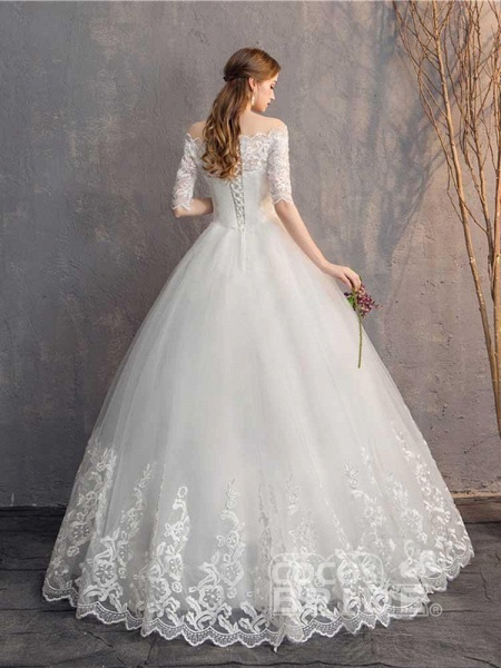 Elegant Lace-Up Tulle Ball Gown Wedding Dresses_4