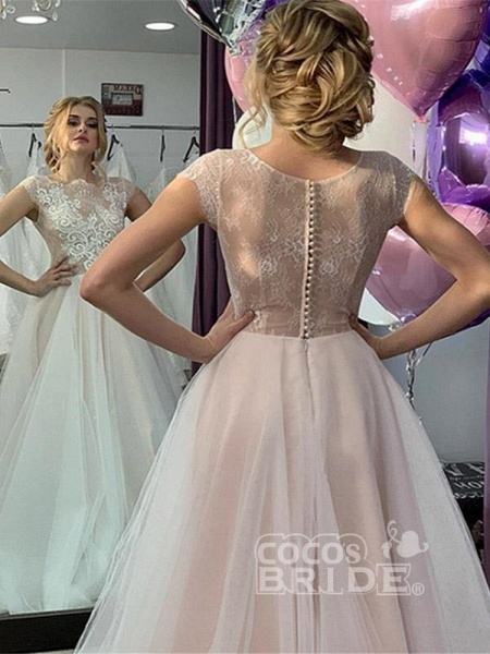 Romantic Short Sleeve Lace A-Line Wedding Dresses_3