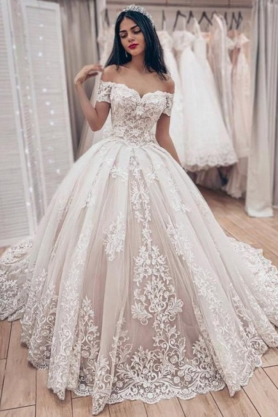 Ball Gown Off the Shoulder with Lace Appliques Gorgeous Wedding Dress_1