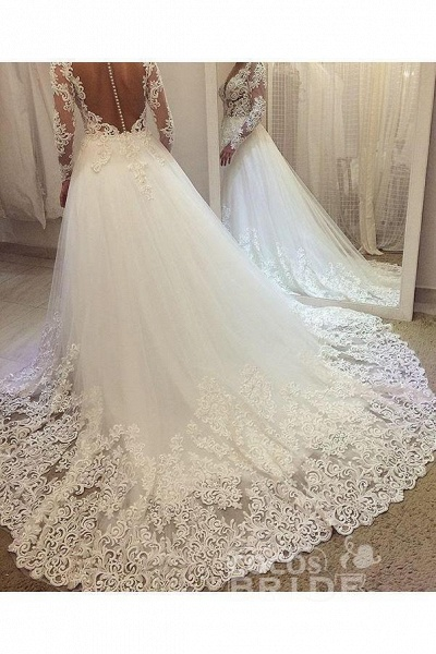 Elegant Beading Lace Long Sleeve Sheer Neck Ball Gown Wedding Dress_3