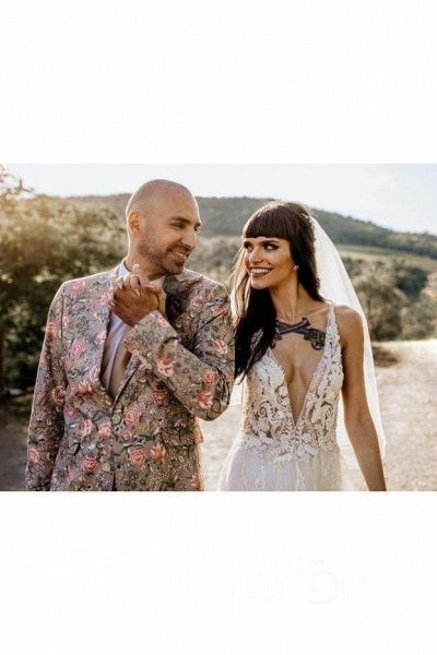 Deep V Neck Thigh Split Beach Vintage Wedding Dress_7