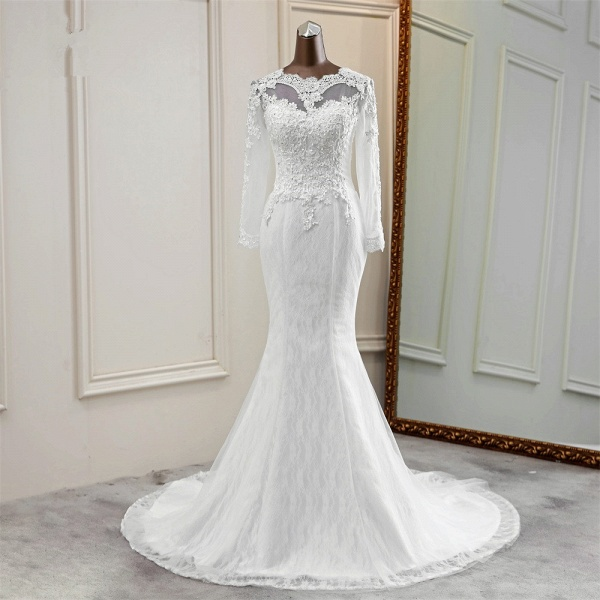 Elegant Mermaid Tulle Jewel Long Sleeves Wedding Dress_8