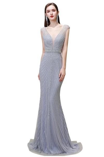 Sexy Mermaid V-neck Silver Long Prom Dress_2