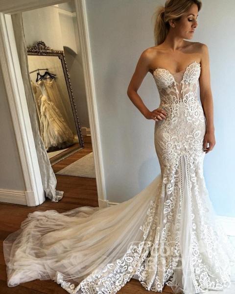 Strapless Mermaid Court Train Sweetheart Wedding Dresses_2