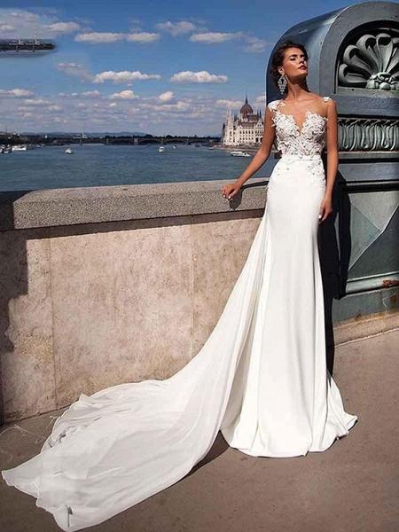Popular Appliques Sweep Train Mermaid Wedding Dresses_1