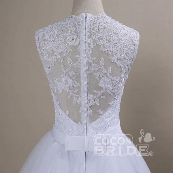 Modest Lace Covered Button Ball Gown Wedding Dresses_4