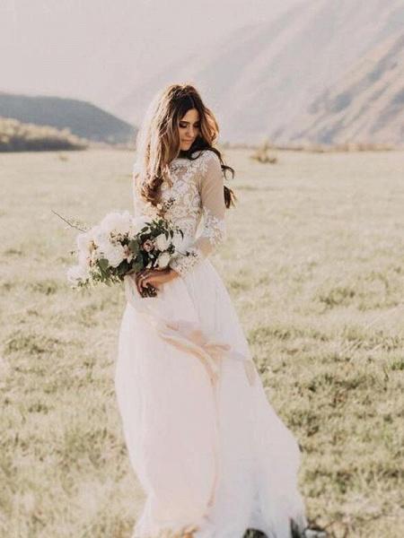Beach Boho Wedding Dresses with Long Sleeve_1