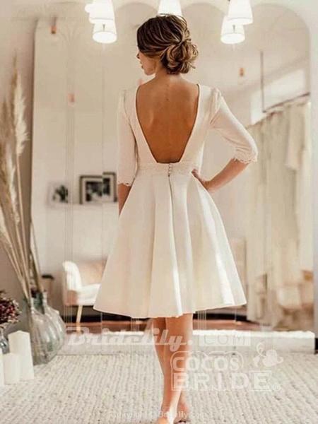 Modest Half Sleeves Open Back Short Wedding Dresses_2