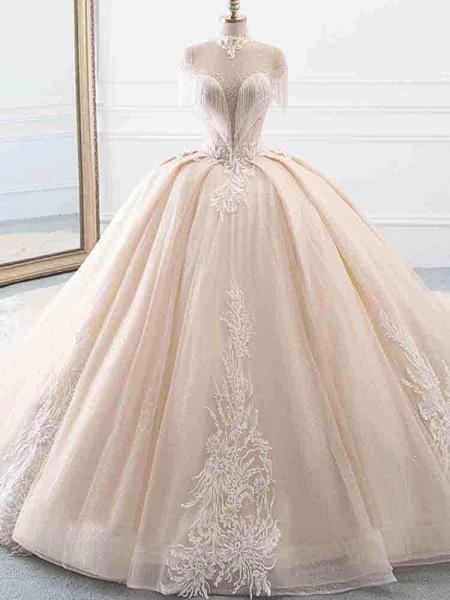 Elegant High Neck Tassel Sleeves Ball Gown Wedding Dresses_1