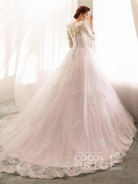 Long Sleeves Lace Tulle Mermaid Wedding Dresses_4