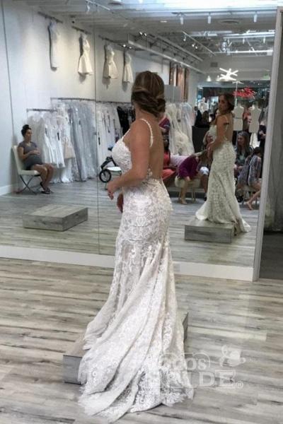 Spaghetti Straps Mermaid V Neck Backless Lace Wedding Dress_2