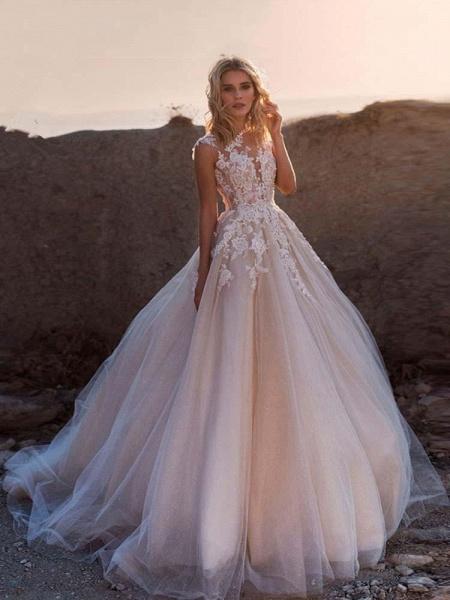 Lace Appliques Tulle Wedding Dresses_1